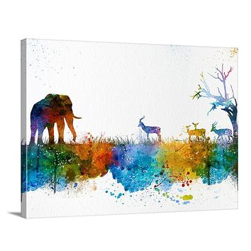 Wall Art Art Print Watercolor African Tree Canvas Print Elephant Wall Art Canvas Print