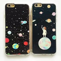 Space Odyssey Planets Ultra Thin Hybrid TPU + PC Cover Case For iPhone 5 5s 6 6plus