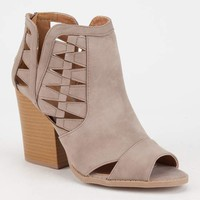 QUPID Cut Out Peep Toe Womens Booties | Boots + Booties