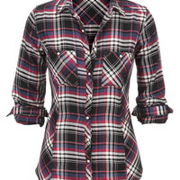 Plaid Flannel Shirt - Lipstick Red Combo