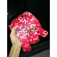 LV x Supreme co-branded classic street fashion men and women wild smooth buckle belt