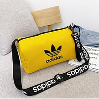 Adidas Fashion New Letter Leaf Print Women Men Leisure Canvas Shoulder Bag Yellow