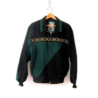 Vintage southwestern coat / lightweight green and black jacket / men's size L