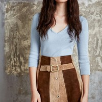 One-of-a-Kind Vintage Panelled Suede A-Line Mini Skirt - Urban Outfitters
