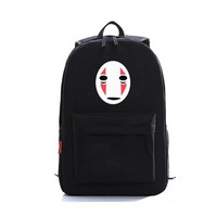 2017 New Japanese Anime Spirited Away Black No Face Mask Oxford printing Backpack Laptop Bags school bags for teenagers