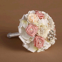 handmade Wedding bouquet flower crystal pearl silk Bride Hands Holding Rose Flower Wedding Bridal Bridesmaid Flower = 1929547524