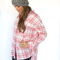 White and Red Plaid Shirt