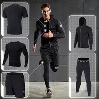2018 sports running suit compression men fitness clothing sets quick dry hood basketball tights soccer gym training jogging suit