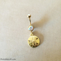 dangle belly ring, 18k gold belly ring, Belly button ring,sand dollar, bellybutton ring, beach wedding, body jewelry, GOLD belly ring