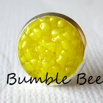 Bumble Bee Stud Earrings Yellow Druzy Studs Bumble Bee Earrings Neon Yellow Round Silver Studs Yellow Color Stained Glass Earrings