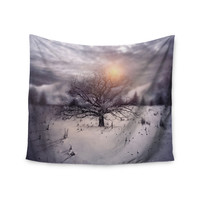 "Viviana Gonzalez ""Lone Tree Love II"" Orange White Wall Tapestry"