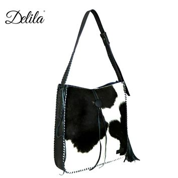Black and White Delila Hair-On Hide Tote by Montana West LEA-6025