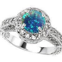 Star K 7mm Round Created Blue Opal Engagement Ring