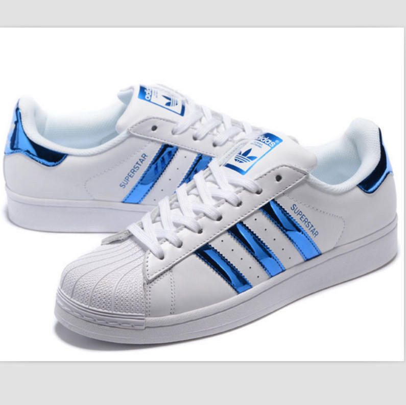 """Image of """"Adidas"""" Fashion Shell-toe Flats Sneakers Sport Shoes Blue"""