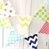 9 Feet Banner 21 Flag Bunting Yellow by vintagegreenlimited