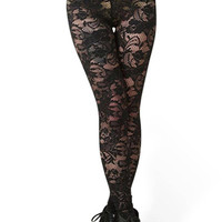 Cut Out Lace Leggings In Black