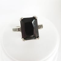Onyx and CZ Ring, Vintage Emerald Cut Black Onyx, Sterling Silver Band - Size 6