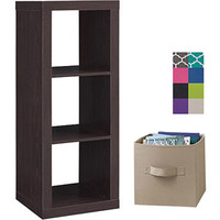 Walmart: Better Homes and Gardens 3-Cube Organizer with 2 Collapsible Fabric Storage Cubes, Mix and Match Colors
