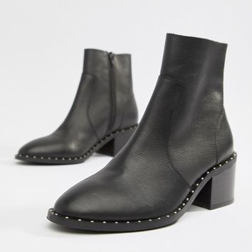 ASOS DESIGN Realm leather mid ankle boots at asos.com