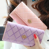 Women Wallets New Fashion trends embroidered crown Ms. clamshell Quilted Wallet money clip lady purse card