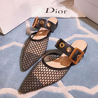 Dior Pointed Patent Leather Net Knitted Bread Head Slippers Shoes