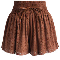 Eyelet Trimmed Suede Skort in Camel Brown S/M