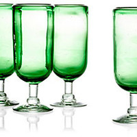 S/4 Hand-Blown Fluted Glasses, Green