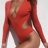 Kawasaki Stylish Long Sleeve Swimsuit Bodysuit
