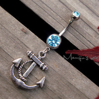 Anchor Belly Button Ring Jewelry- Crystal Belly Ring- Silver Anchor Charm Dangle Navel Piercing Bar Barbell- B011