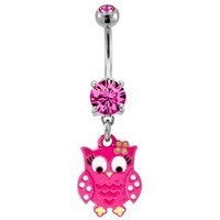Pink Polka Dot Owl Belly Button Ring