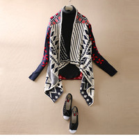Retro Tribal Style Colorful Paisley Print Open Cardigan Knit Sweater
