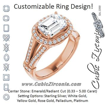 Cubic Zirconia Engagement Ring- The Cecelia (Customizable Radiant Cut Horizontal Setting with Halo, Under-Halo Trellis Accents and Accented Split Band)