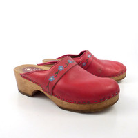 Wooden Clogs Shoes Vintage 1980s Red Wallstroms Leather Size 38