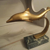 Vintage Brass and Marble Dolphin Statue ~ Mid Century Modern