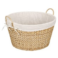 Water Hyacinth Wicker Round Laundry Basket, Natural