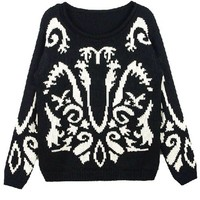 Loose Fit Black Chunky Knitted Jumper with Ethnic Print