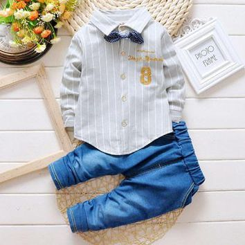 Baby Boys Bow-Tie Shirts+Jeans Set