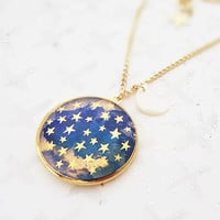 Dark Is The Night Locket Necklace Gold