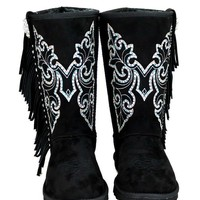 Boho Butterfly Stud Faux Shearling Lined Embroidered Boots