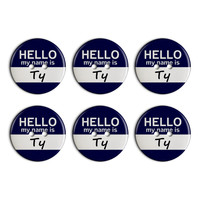 Ty Hello My Name Is Plastic Resin Button Set of 6