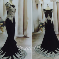 2015 Chiffon Applique Sequins Tulle Arabic Style Evening Custom Design Sexy Long Prom Dresses ( Real Image)
