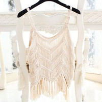 Crochet top summer style fringe tops sexy crop top tassel knitted camis women