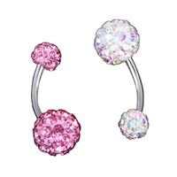 OULII Belly Button Rings Belly Rings 2pcs Crystal Women Belly Bar Stud