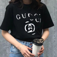 GUCCI Summer new fashion letter print short-sleeved T-shirt female loose Black