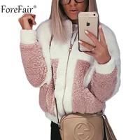 Forefair Autumn Fleece Jacket Women Korean Casual Teddy Fur Pink White Coat Women Winter Jackets