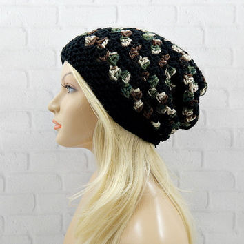 Striped Camo Beanie, Black Winter Hat, Camouflage Slouch Hat, Slouchy Beanie Hat, Womens Winter Beanie, Crochet Camo Hat, Vegan Slouchy Hat