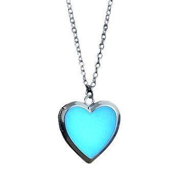 Beaming Heart Glow in The Dark Silver Love Locket Necklace For Woman