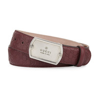 Microguccissima Belt with Dog Tag Buckle, Size: