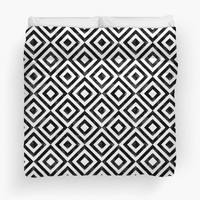'Black and white watercolor diamond pattern' Duvet Cover by CatyArte