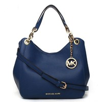 MK Michael Kors Fashion New Leather Solid Color Shopping High Capacity Shoulder Bag Handbag Blue